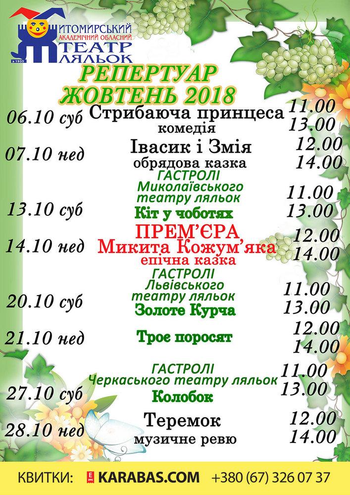 Купить билет на Колобок в Житомирський академічний обласний театр ляльок Новый зал